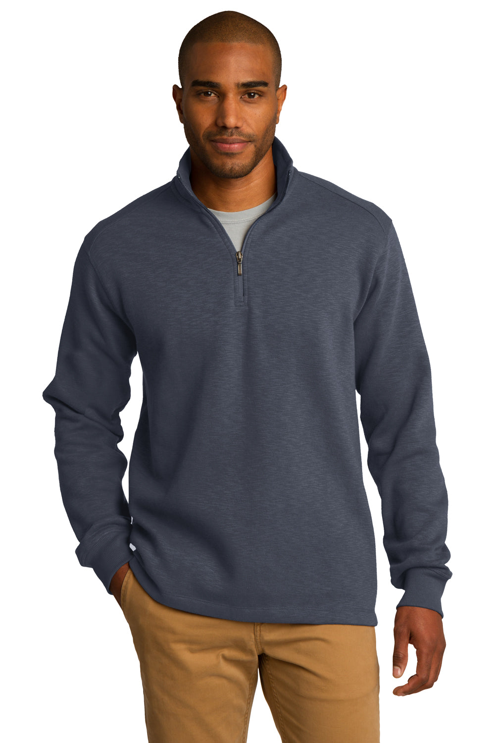 Port Authority F295 Mens Slub Fleece 1/4 Zip Sweatshirt Slate Grey Front