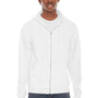 American Apparel Mens White Flex Fleece Full Zip Hooded Sweatshirt Hoodie