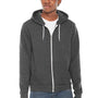American Apparel Mens Heather Dark Grey Flex Fleece Full Zip Hooded Sweatshirt Hoodie