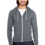 American Apparel Mens Asphalt Grey Flex Fleece Full Zip Hooded Sweatshirt Hoodie
