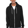 American Apparel Mens Black Flex Fleece Full Zip Hooded Sweatshirt Hoodie
