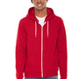 American Apparel Mens Red Flex Fleece Full Zip Hooded Sweatshirt Hoodie