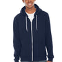 American Apparel Mens Navy Blue Flex Fleece Full Zip Hooded Sweatshirt Hoodie