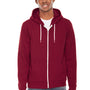 American Apparel Mens Cranberry Red Flex Fleece Full Zip Hooded Sweatshirt Hoodie