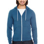 American Apparel Mens Sea Blue Flex Fleece Full Zip Hooded Sweatshirt Hoodie