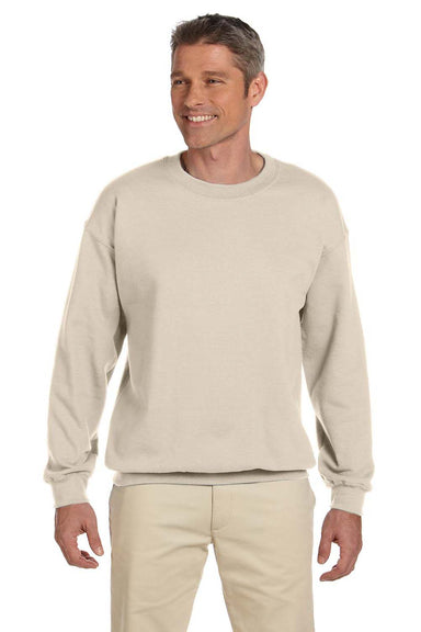 Gildan G180 Mens Fleece Crewneck Sweatshirt Sand Brown Front