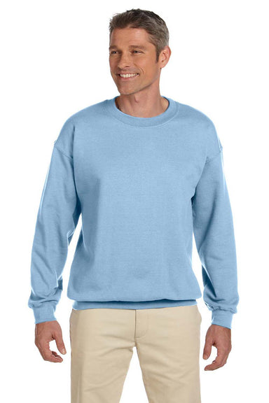 Gildan G180 Mens Fleece Crewneck Sweatshirt Light Blue Front