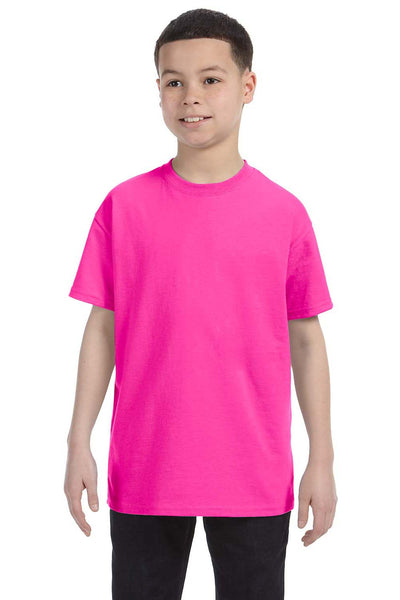 Gildan G500B Youth Short Sleeve Crewneck T-Shirt Azalea Pink Front