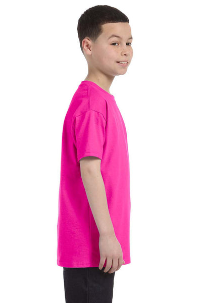 Gildan G500B Youth Short Sleeve Crewneck T-Shirt Azalea Pink Side