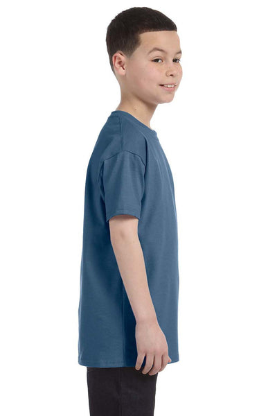 Gildan G500B Youth Short Sleeve Crewneck T-Shirt Indigo Blue Side