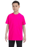 Gildan G500B Youth Short Sleeve Crewneck T-Shirt Heliconia Pink Front