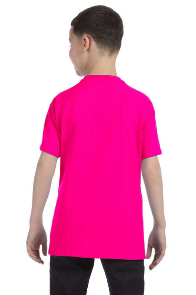 Gildan G500B Youth Short Sleeve Crewneck T-Shirt Heliconia Pink Back