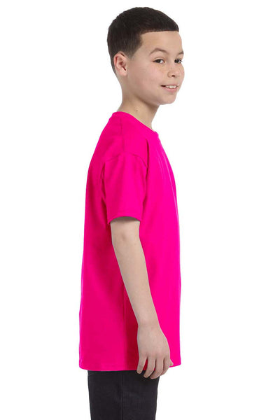 Gildan G500B Youth Short Sleeve Crewneck T-Shirt Heliconia Pink Side