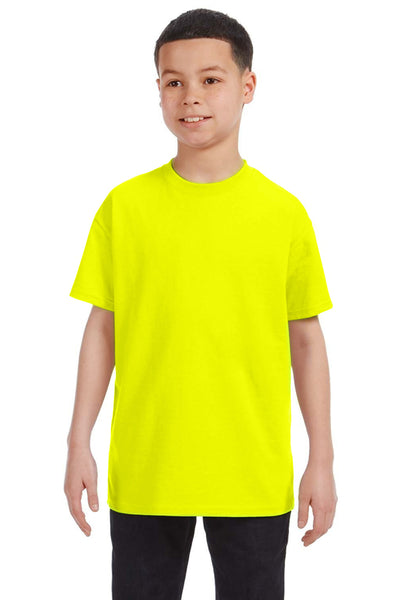 Gildan G500B Youth Short Sleeve Crewneck T-Shirt Safety Green Front