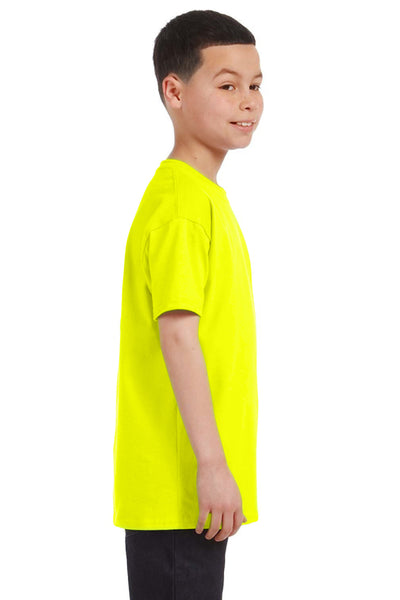 Gildan G500B Youth Short Sleeve Crewneck T-Shirt Safety Green Side
