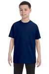 Gildan G500B Youth Short Sleeve Crewneck T-Shirt Navy Blue Front