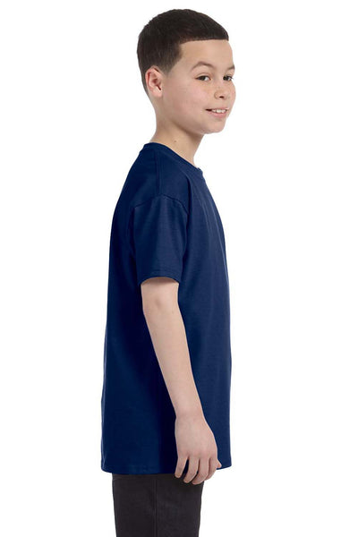 Gildan G500B Youth Short Sleeve Crewneck T-Shirt Navy Blue Side