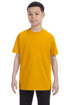 Gildan G500B Youth Short Sleeve Crewneck T-Shirt Gold Front
