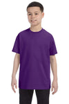 Gildan G500B Youth Short Sleeve Crewneck T-Shirt Purple Front