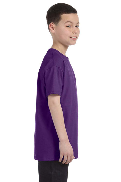 Gildan G500B Youth Short Sleeve Crewneck T-Shirt Purple Side
