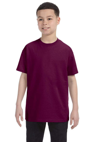 Gildan G500B Youth Short Sleeve Crewneck T-Shirt Maroon Front