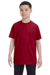 Gildan G500B Youth Short Sleeve Crewneck T-Shirt Cardinal Red Front