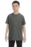 Gildan G500B Youth Short Sleeve Crewneck T-Shirt Military Green Front