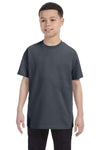 Gildan G500B Youth Short Sleeve Crewneck T-Shirt Heather Dark Grey Front