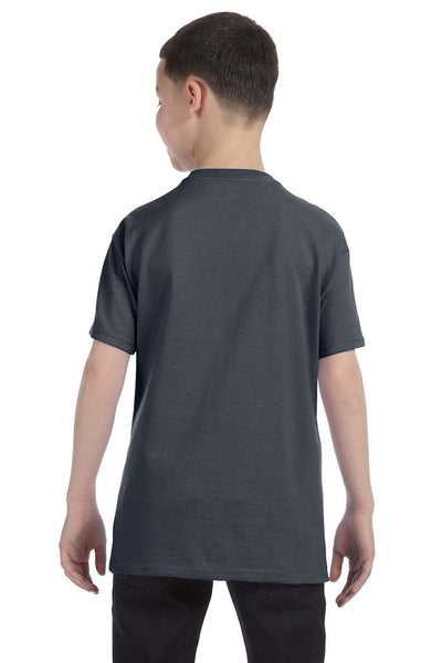 Gildan G500B Youth Short Sleeve Crewneck T-Shirt Heather Dark Grey Back