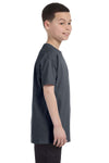 Gildan G500B Youth Short Sleeve Crewneck T-Shirt Heather Dark Grey Side