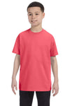 Gildan G500B Youth Short Sleeve Crewneck T-Shirt Coral Silk Pink Front