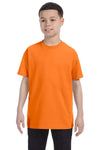 Gildan G500B Youth Short Sleeve Crewneck T-Shirt Safety Orange Front