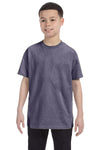 Gildan G500B Youth Short Sleeve Crewneck T-Shirt Heather Graphite Grey Front