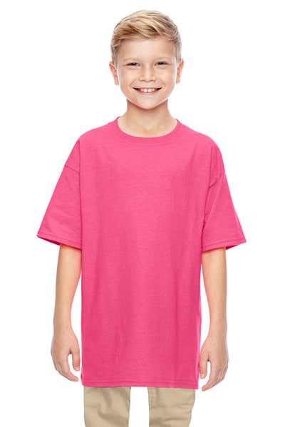 Gildan G500B Youth Short Sleeve Crewneck T-Shirt Safety Pink Front