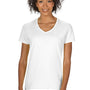 Gildan Womens Short Sleeve V-Neck T-Shirt - White