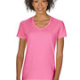 Gildan Womens Short Sleeve V-Neck T-Shirt - Azalea Pink