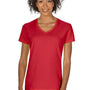 Gildan Womens Short Sleeve V-Neck T-Shirt - Red