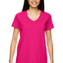 Gildan Womens Short Sleeve V-Neck T-Shirt - Heliconia Pink