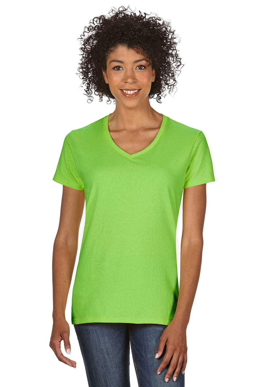 Gildan G500VL Womens Short Sleeve V-Neck T-Shirt Lime Green Front