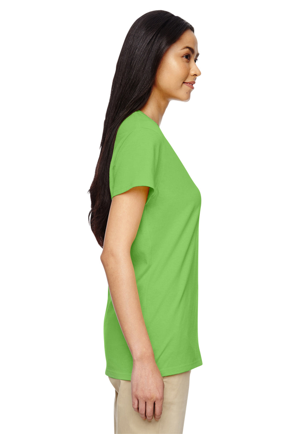 Gildan G500VL Womens Short Sleeve V-Neck T-Shirt Lime Green Side