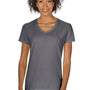 Gildan Womens Short Sleeve V-Neck T-Shirt - Charcoal Grey