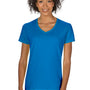 Gildan Womens Short Sleeve V-Neck T-Shirt - Sapphire Blue