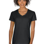 Gildan Womens Short Sleeve V-Neck T-Shirt - Black