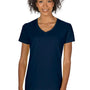 Gildan Womens Short Sleeve V-Neck T-Shirt - Navy Blue