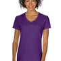 Gildan Womens Short Sleeve V-Neck T-Shirt - Purple