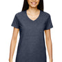 Gildan Womens Short Sleeve V-Neck T-Shirt - Heather Navy Blue