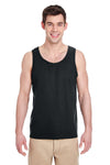 Gildan G520 Mens Tank Top Black Front