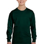 Gildan Youth Long Sleeve Crewneck T-Shirt - Forest Green