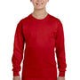Gildan Youth Long Sleeve Crewneck T-Shirt - Red