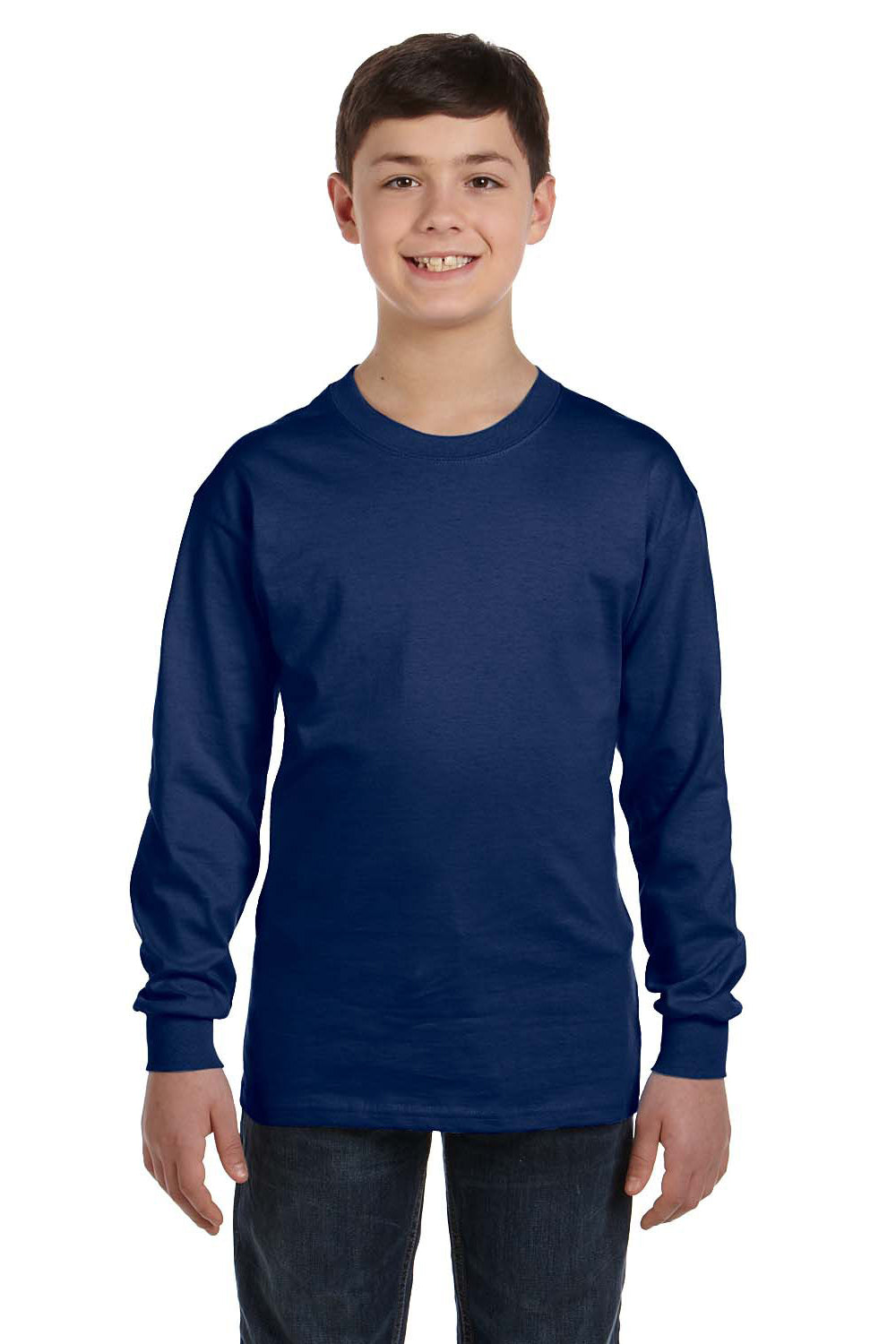 Gildan G540B Youth Long Sleeve Crewneck T-Shirt Navy Blue Front